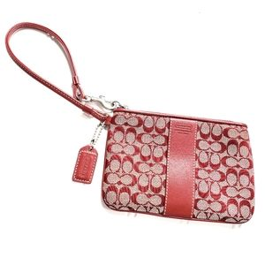 Coach Tan And Red C Logo Wristlet W/Leather Strap